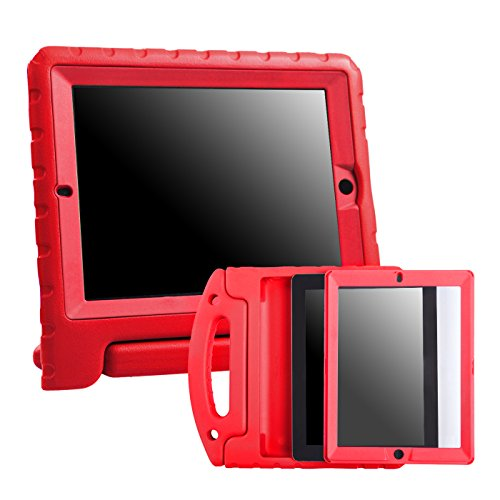 HDE iPad 2 3 4 Bumper Case for Kids Shockproof Hard Cover Handle Stand with Built in Screen Protector for Apple iPad 2nd 3rd 4th Generation (Red)