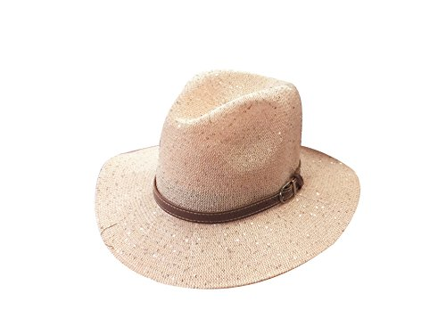 ACVIP Women's Sequined Cotton Buckled Cowboy Sun Hat (pink)