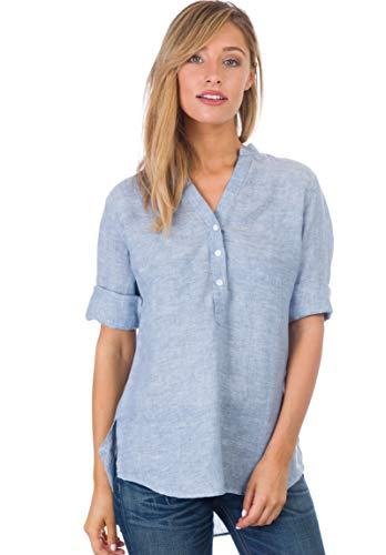 Pintuck Linen Shirt - CAMIXA Women's 100% Linen Casual Button-up Popover Shirt Effortless Airy Basic XS Blue Melange