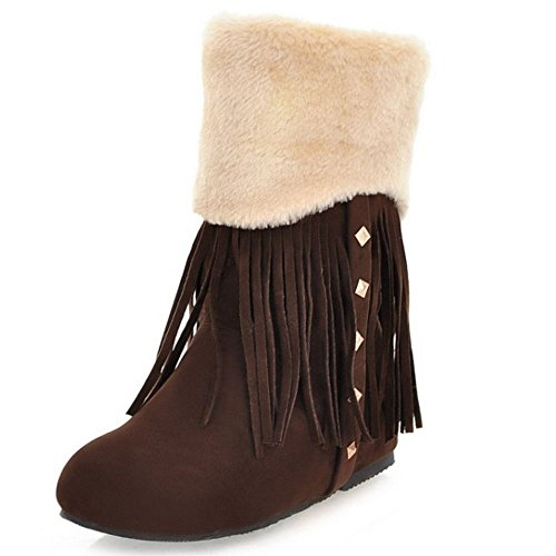 COOLCEPT Damen Bequeme Niedrige Stiefel Pull on with Height Increasing (38 As, Brown)