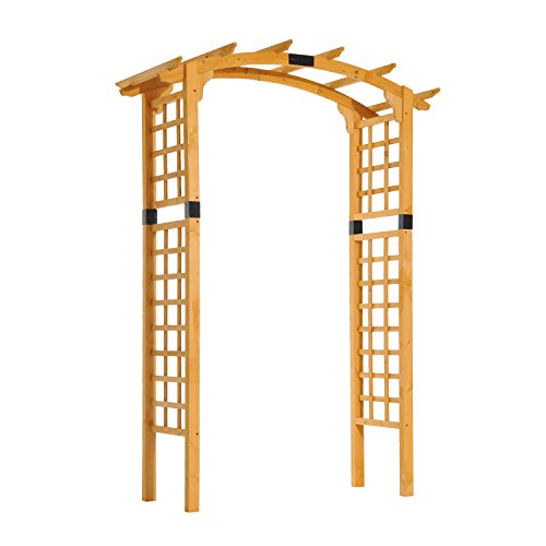 Outsunny 90'' Wooden Garden Arbor Arch Trellis (Rounded) by Outsunny