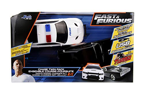 Jada Fast & Furious Chase Twin Pack- Dom's Dodge Charger R/T & Dodge Charger SRT Hellcat, Police & Chase Car Rc, USB… 5