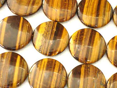 (AAA Natural Tiger Eye Gemstone 16mm Flat Round Loose Beads 15.5