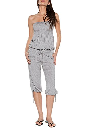 Pink Queen Women's Smocked Bandeau Top Baggy Waist Fifth Pants Jumpsuits M Grey