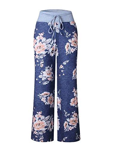 Lacet Longue Au En Bigood Confortable Pantalon Bleu Casual Polyester b Imprimé qOwqp6Xg