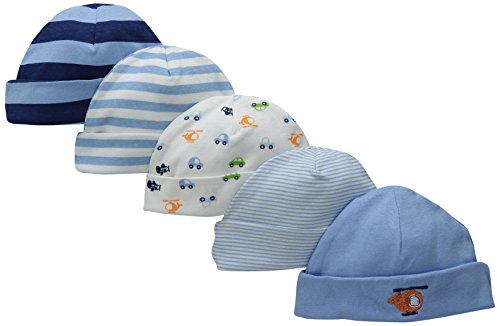 Gerber Baby Boys' 5 Pack Caps, Transportation, 0-6 Months