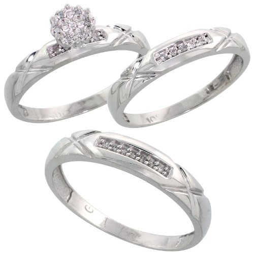 10k White Gold Diamond Trio Engagement Wedding Ring Set for Him and Her 3-piece 4 mm & 3.5 mm wide 0.13 cttw Brilliant Cut, Ladies Size 7 by Silver City Jewelry