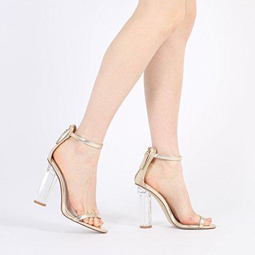 Womens Buckle Fastening Open Toe Perspex Clear Block Heels Gold PU 3-8 cIEw9HQK12