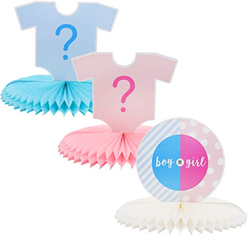 Blue Panda Gender Reveal 3-Piece Set Table Decorations - Baby Boy or Girl Honeycomb Centerpiece Party Supplies, 12 x 9 Inches]()