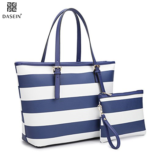 [Dasein Women's Top Handle Structured Two Tone Tote Bag Satchel Handbag Shoulder Bag With Shoulder Strap (7326 Stripes Blue/White)] (Stripe Shoulder Tote Bag)