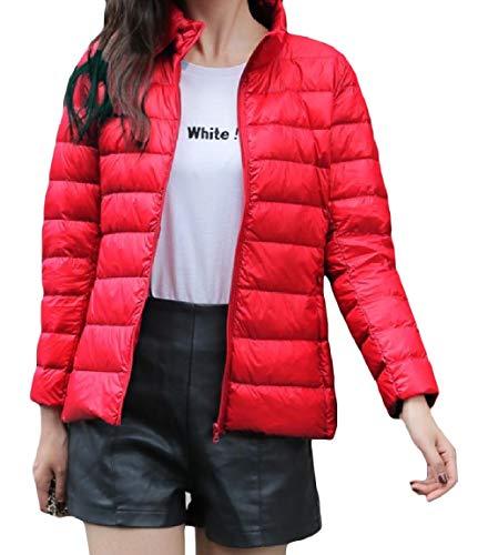 Mogogowomen Leggero Zip Breve size Plus Del Peso Solido Collare Piumini Mini Basamento Pattern8 4f4OqBwRx