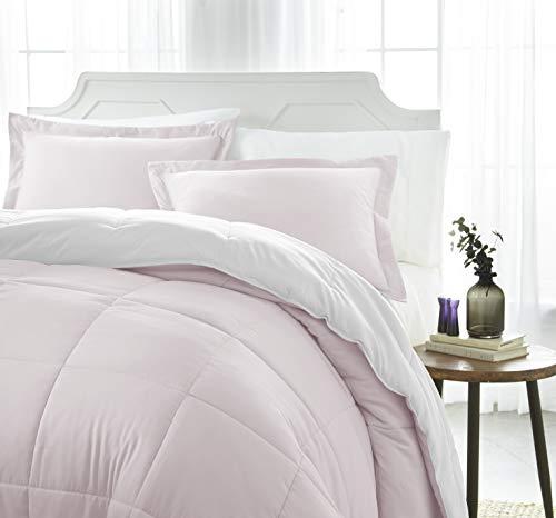 iEnjoy Home Collection Down Alternative Reversible Comforter Set -King -Blush/White