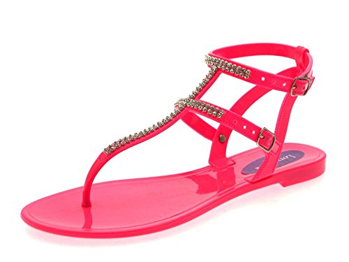 Lora Dora Women's Diamante Sandals Flat Jelly Shoes Double Strap Fuchsia US 8