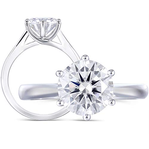 Solid 14K White Gold 2ct 8MM H Color 2.8MM Width Round Moissanite Simulated Diamond Engagement Ring for Women(5)