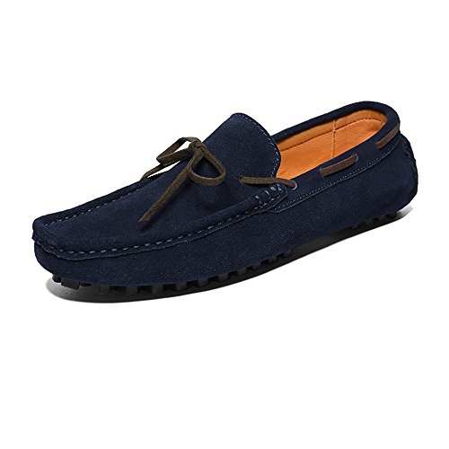Up Hombres Genuino los EU 39 Suede Superiores Xiazhi Loafers Armada Cuero Lace Color Conducción de tamaño Penny shoes Mocasines Marrón wPqItz