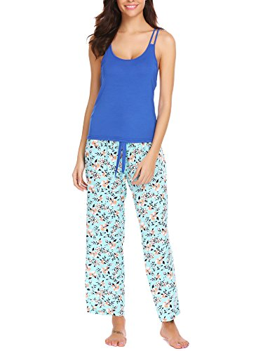 ank Top and Print Pants Pajama Set Sexy Sleepwear For Women, C(blue)(long Pants), Medium ()