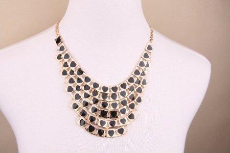 (Romantic Cascading Hearts Collar Choker Necklace,Love Hearts Bib Necklace for Women)