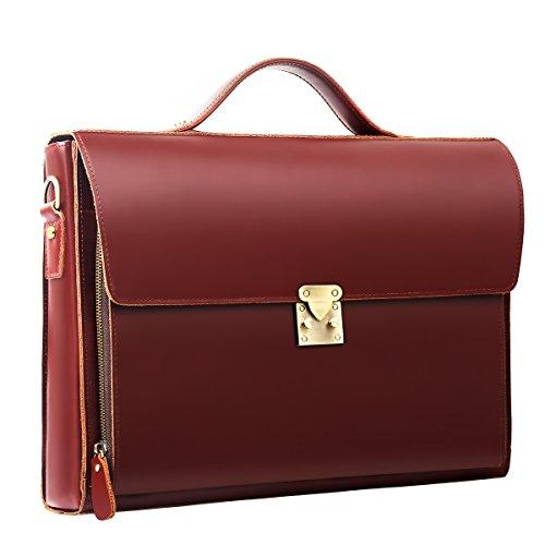 Leathario Herren Echtleder Aktentasche Ledertasche Laptoptasche für Business Vintage(Braun4)