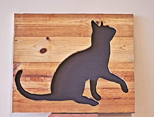 (Personalized Reverse Cut Out Cat Wood Frame/Panel)