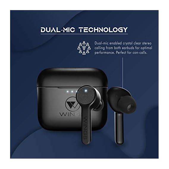 Wings Techno TWS Bluetooth 5.0 True Wireless TWS Earbuds Earphones Headphones, 4 Mics, 24 Hour Playtime, Full Touch Controls