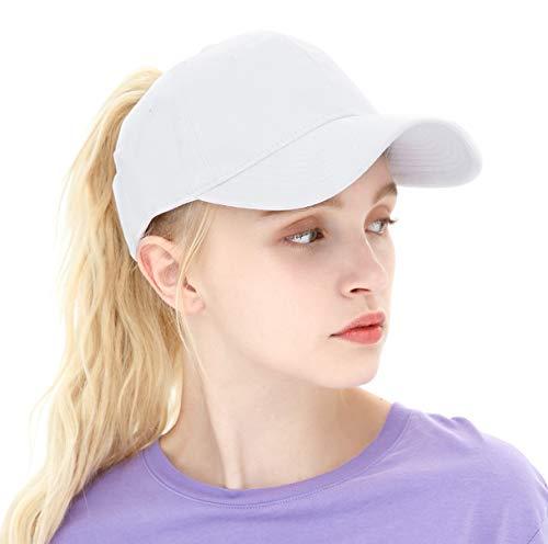 33eada78727 ELLEWIN Ponytail Baseball Cap hat with Ponytail Hole Plain Cotton Messy High  Bun Hat White