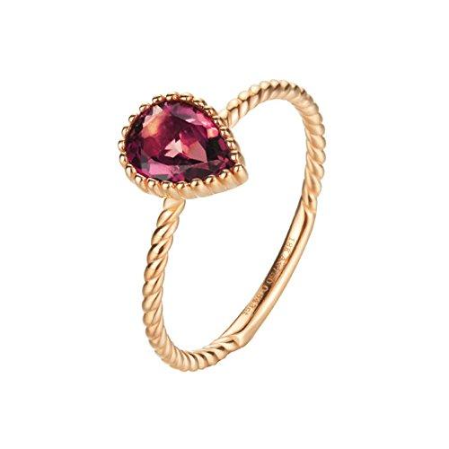 18K Gold Ring(Au750) Teardrop Pink Tourmaline Ring Wedding Engagement Ring for Women Bride Size 8 by Epinki