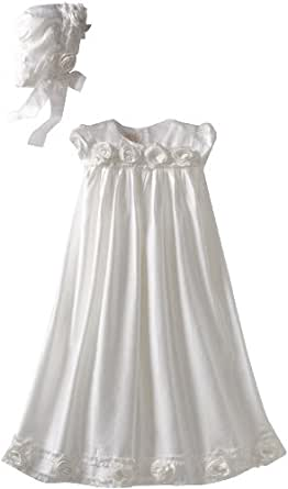 Biscotti Baby-Girls Newborn Cherished Heirloom Silk Gown and Bonnet, White, 3-9 Months