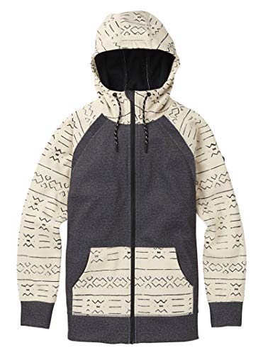 Burton Women's Crown Bonded Full-zip Hoodie, Small, Canvas Bogolanfini/True Black Heather ()