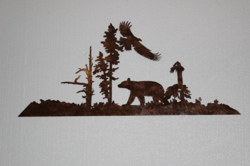 Bear and Eagle Metal Wall Art Country Rustic ()