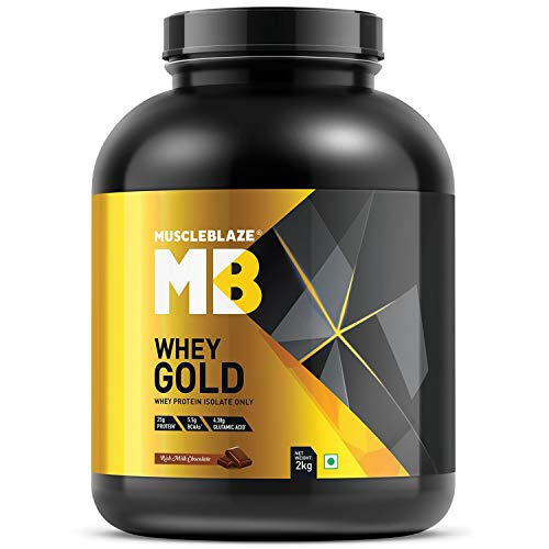 MuscleBlaze Whey Gold 100% Whey Protein Isolate, 2 kg/4.4 lb (Rich Milk Chocolate)