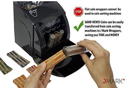 J Mark Neatly-Packed Flat Coin Roll Wrappers (Quarters, Dimes, Nickels, Pennies), ABA Striped Kraft Paper Coin Roll Wrappers, Includes Free J Mark Deposit Slip, (400-Pack USD) by Brand: J Mark (Image #3)