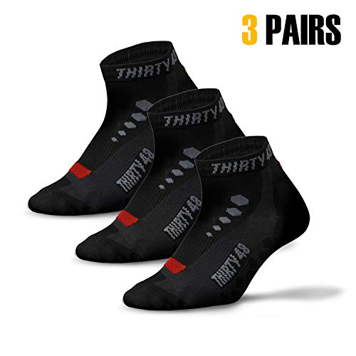Thirty 48 Low Cut Cycling Socks for Men and Women | Unisex Breathable Sport Socks (Large - Women 9-12 // Men 8-11, [3 Pairs] Black/Red) (Best Bike For Great Allegheny Passage)