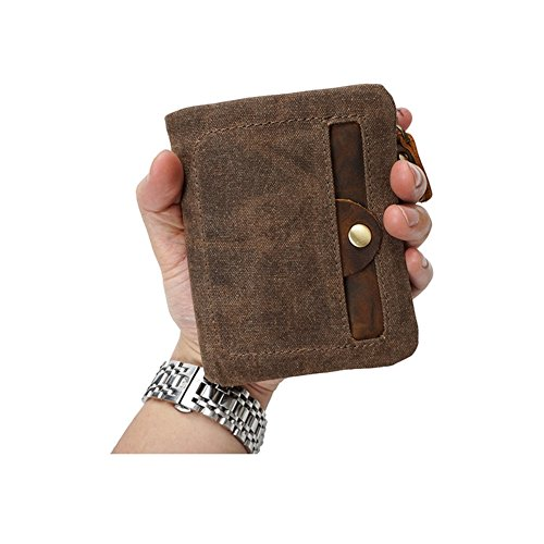 with VRIKOO Mens Zipper Green Coffee Coral Canvas Front Velcro Wallet Bifold amp; Pocket rwrgIBqHZ