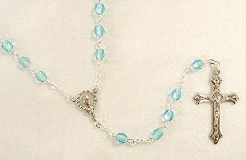 Pack of 8 March Aquamarine Birthstone Glass Beads Rosaries 17.5