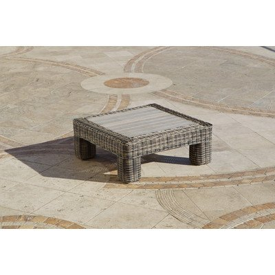 RST Brands OP-PECT36-LNK-WG Resort Collection 36-Inch Coffee Table Rattan Patio Furniture, Weathered Gray