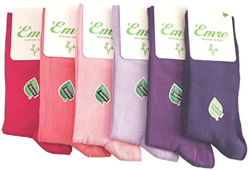 - 6 Pairs Emre Bamboo Seamless Casual Dress Socks (Pink & Purple Mix)