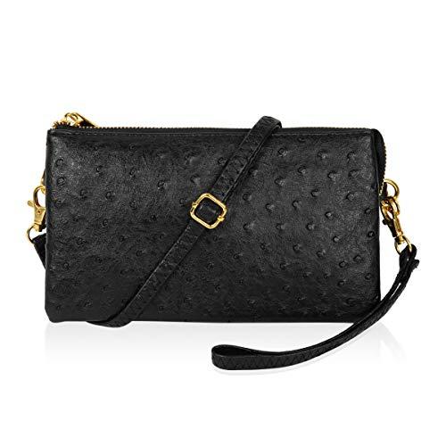 Convertible Vegan Leather Wallet Purse Clutch - Small Handbag Phone/Card Slots & Detachable Wristlet/Shoulder/Crossbody Strap (Ostrich Embossed - Black)