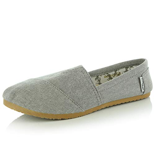 Sneaker Soft Daily Grey Memory Casual on DailyShoes Flat Women's Flats Linen Foam Classic Slip Shoes Ash Cushioned tYqF0wPq