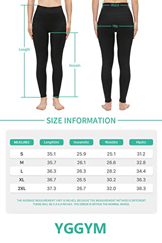 YGGYM Yoga Pants Work Out Leggings with Pockets,Tummy Control,High Waist Workout Running Pants (Large, Black)