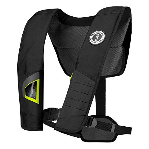 Mustang Dlx 38 Deluxe Manual Inflatable Pfd - Black/Fluorescent Yellow-Green