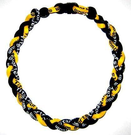 """PACK OF 2 20/"""" Black Yellow White Titanium Sport Necklaces Tornado Germanium"""