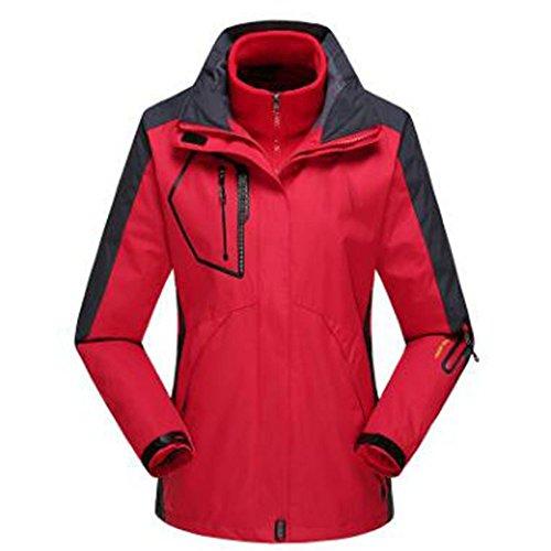 Cappotto Donna Rimovibile Caldo Pile Fodera Due Alpinismo All'aperto Red Una Da Giacche Lai Wu Tre Pezzi In tAvPTgvqw