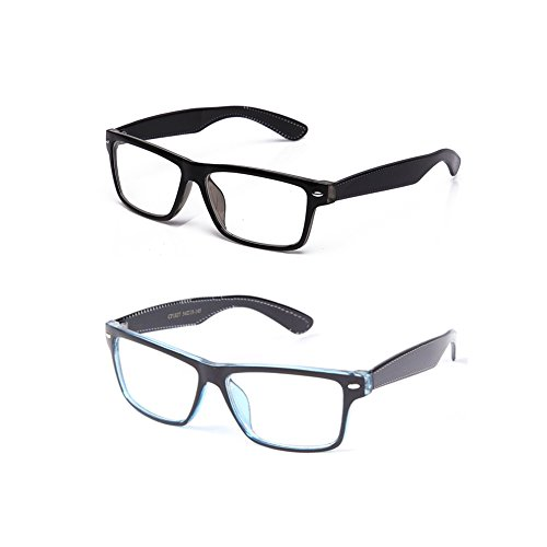 Unisex Clear Frames Squared Design Comfortable Stlyish for Women and Men 2 Pack Black & Brown
