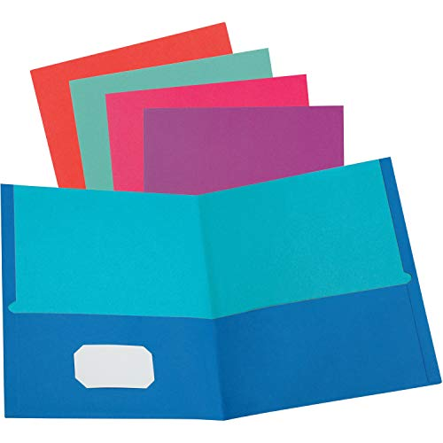 (Oxford Twisted Pocket Folder Without Fasteners, 11 x 8-1/2 Inches, 2 Pockets, Assorted Colors, Pack of 50)