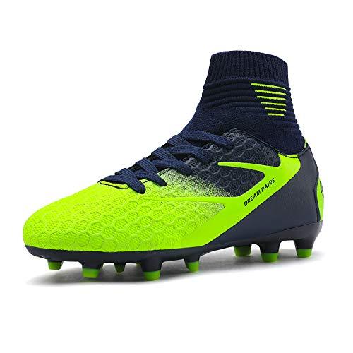 DREAM PAIRS Boys Girls HZ19002K Dark Blue Neon Green Soccer Football Cleats Shoes Size 6 Big Kid