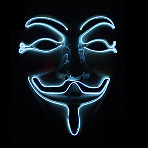 V for Vendetta Guy Fawkes LED Anonymous Rave Scary Mask EL Wire for Halloween Party (White) -