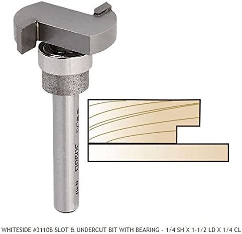 Whiteside Router Bits 3110B Slot and Undercut Bit with 1-1/2-Inch Large Diameter and 1/4-Inch Cutting Length