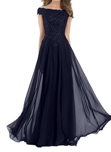 Damen Navy Blau Festlichkleider Brautmutterkleider mit Perlen Charmant Partykleider Abendkleider Lang Chiffon Kurzarm Zw7xvOCnq