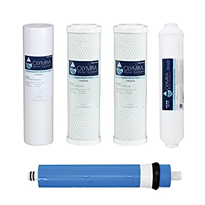 Olympia Water Systems 50GPD 5-Stage Complete Replacement Filter Set For Reverse Osmosis System