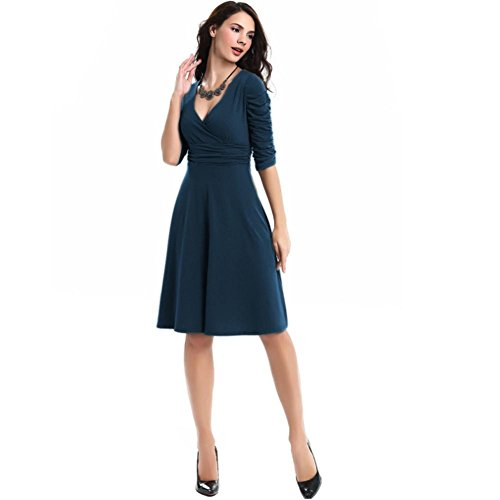 OpenBeauty Women's 3/4 Sleeve Ruched Waist Elegant V-neck Casual Party Dress(L,Navy)